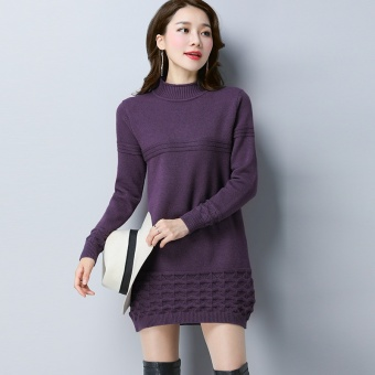 LOOESN Korean-style knitted women pullover base shirt sweater (Violet)