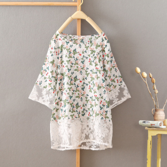 LOOESN retro cotton linen women's short sleeved summer Top T-shirt (White small flower)