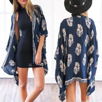 Loose Floral Print Kimono Cardigan Cover - Intl | Lazada Singapore