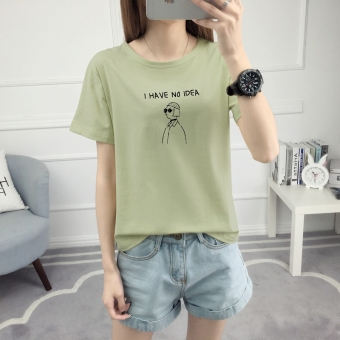Loose Korean-style short sleeved female student T-shirt (528-gray-green color) (528-gray-green color)