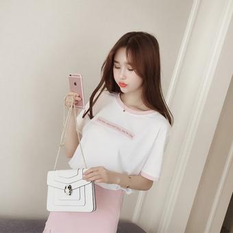 Loose Korean-style slimming short sleeved t-shirt (Pink) (Pink)