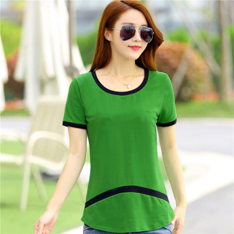 Loose Korean-style solid color Female Summer New style base shirt T-shirt (Green) (Green)