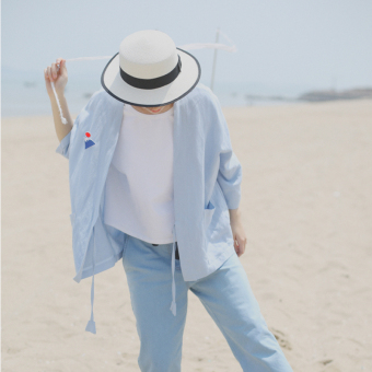 Loose Korean-style spring and summer slimming kimono thin jacket (Light blue) (Light blue)