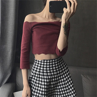 Loose Korean-style student female long-sleeved t-shirt Top