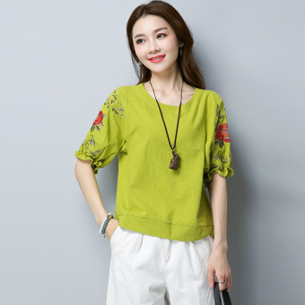 Loose retro cotton linen Plus-sized embroidered flower T-shirt shirt (Green) (Green)