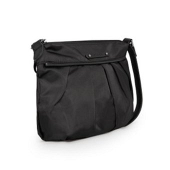MANGO MNG Lightweight Nylon Pleated Sling / Cross BodyBag (Black) - 3