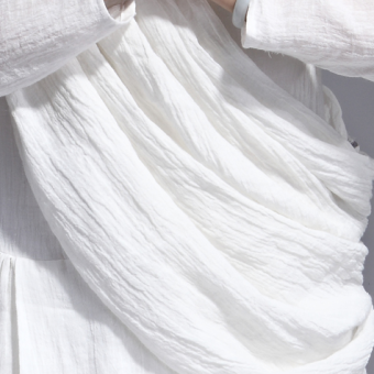 Meditation ivory white natural linen dialogue scarf Enzyme