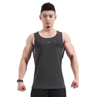 Men loose sleeveless t-shirt fitness room fitness clothes (Black) (Black)