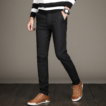 Men Slim fit stretch pants feet New style casual pants (Black)