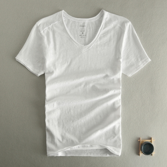 Men to do the old V-neck Slim fit cotton short-sleeved shirt bottoming T-shirt (White) (White)