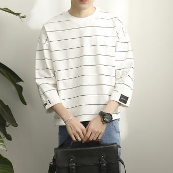 Men's New style striped seven points student short-sleeved t-shirt (White)