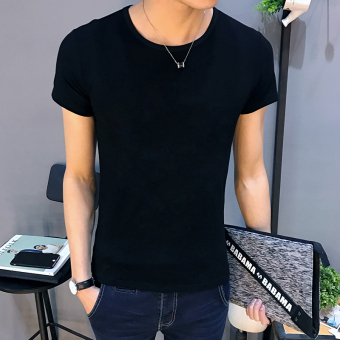Harga Men's short sleeved printed Slim fit round neck t-shirt (Blank black (limited 11.9 yuan)) (Blank black (limited 11.9 yuan))