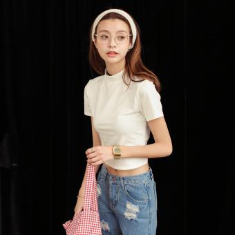 Mooti Korean-style Slim fit striped small T-shirt (Beige) (Beige)