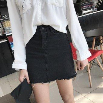 New Korean retro tassel spring a word skirt half-length skirt (Black) (Black)