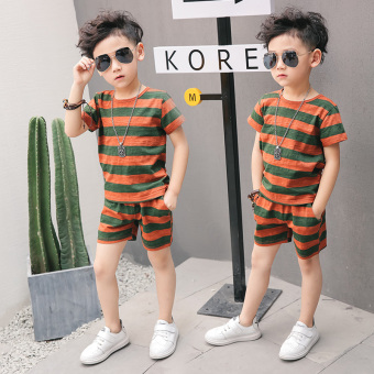 New style boys shortsleeved striped Tshirt  Green Wide Strip    Green Wide Strip
