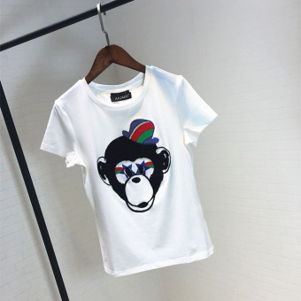 Harga New style monkey needlepoint hedging summer sequins cotton stretchshirt
