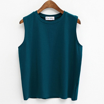 New style sleeveless loose student solid color T-shirt spring and summer women's (Army green) (Army green)
