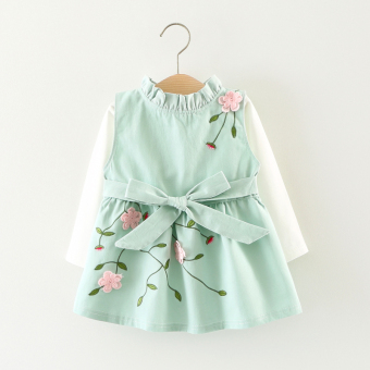 New style Spring and Autumn baby girls skirt children's strap dress (Blue embroidered 2 piece)