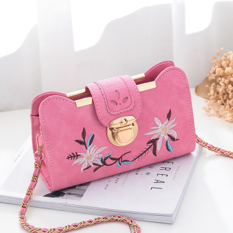 New style tide Korean-style embroidery chain bag (Pink trumpet)