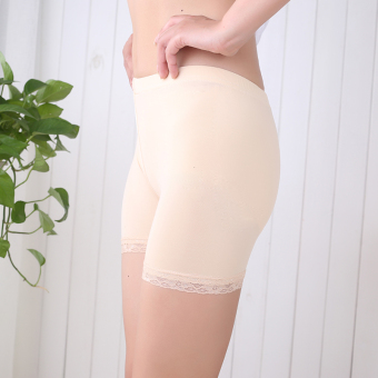 Outer wear thin section Plus-sized insurance lace Safety pants bottoming pants (Three points lace-color)