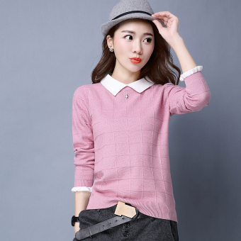 Peter Pan collar slimming base shirt LOOESN knitted shirt (Pink)