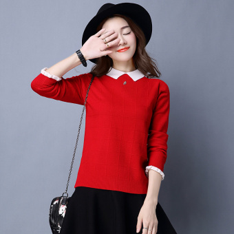 Peter Pan collar slimming base shirt LOOESN knitted shirt (Red)