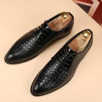 PINSV Mens Classic Formal Shoes Loafers Business Shoes (Black) - 4