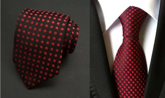 Polka Dots Silk Jacquard Silk Casual Necktie Tie for Men 8cm Red -intl