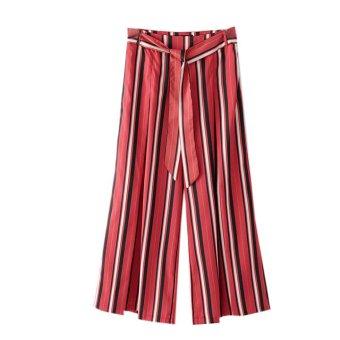 Resort slit red striped culottes flower pants beach pants
