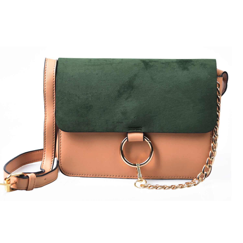 Ring Chain Faye Messenger Bag Faux Leather Handbag Flap Sling Bag Cross Body Bag (Khaki