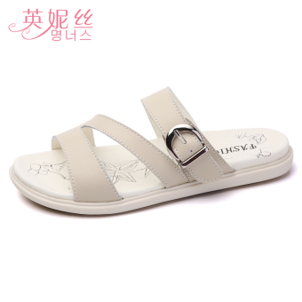 Shishang leather female outerwear sandals slippers (Beige)