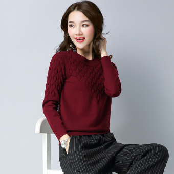 Shishang solid color slimming base shirt LOOESN knitted shirt (Wine red color)