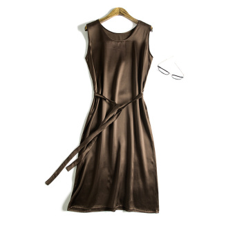 Silk M summer sleeveless vest skirt (Coffee color) (Coffee color)