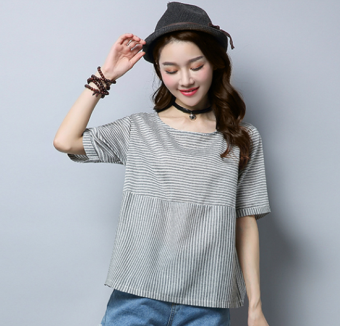 Simple cotton linen New style Plus-sized Top Striped short sleeved t-shirt