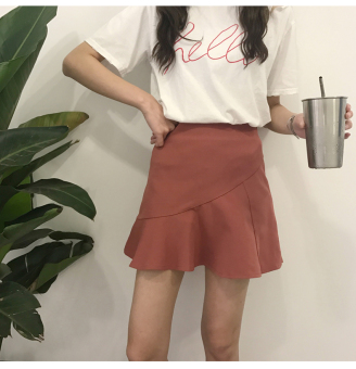 Skirts in the spring of 2017 new female korean wild fungus edge black waist was thin package hip skirt a word skirt (Red bean paste)