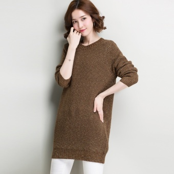 Slimming pullover mid-length base shirt LOOESN knitted shirt (Deep coffee)