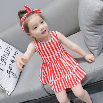 small childrens clothing girls princess dress 2017 summer new female baby striped cotton vest dress 27