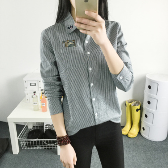 Small fresh female striped long-sleeved embroidered shirt cotton shirt (Gray) (Gray)
