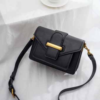 Small Square Korean-style New style lock bag women's bag mini small bag (Black)