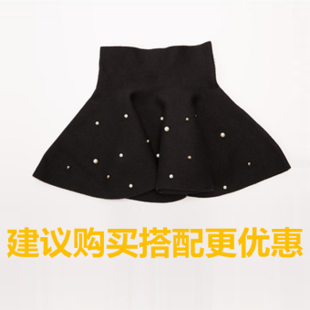 Spring and Autumn New style children's spring pleated skirt girls skirt (Pearl black)