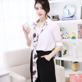 Spring and summer female korean version of the thin narrow rectangular scarf small silk scarf bag tie scarf chiffon scarf (Magpie white)