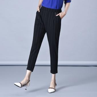 Striped spring Slimming effect Korean-style black striped pants HarLan pants (Stripes) (Stripes)