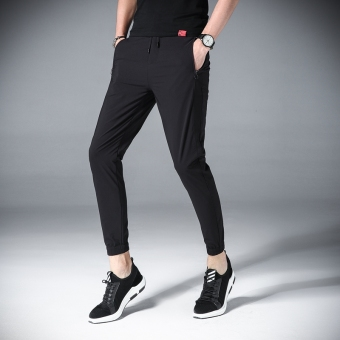 Stylish summer Slim fit ankle-length harem pants men pants (Black)