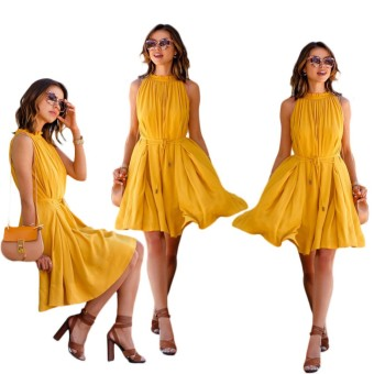 Summer Women Casual Beach Dress Sexy Sleeveless BandageDress(Yellow) - intl