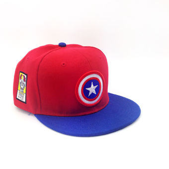 Superman Korean-style baby children CAP hat hip hop cap (Can be adjustable + Red Blue brimmed)