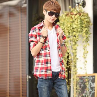 Teenagers' Korean-style slim fit long-sleeve shirt