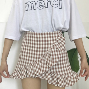 Temperament high waist plaid not rule Slimming effect Korean-style a word dress (Pink and white squares)