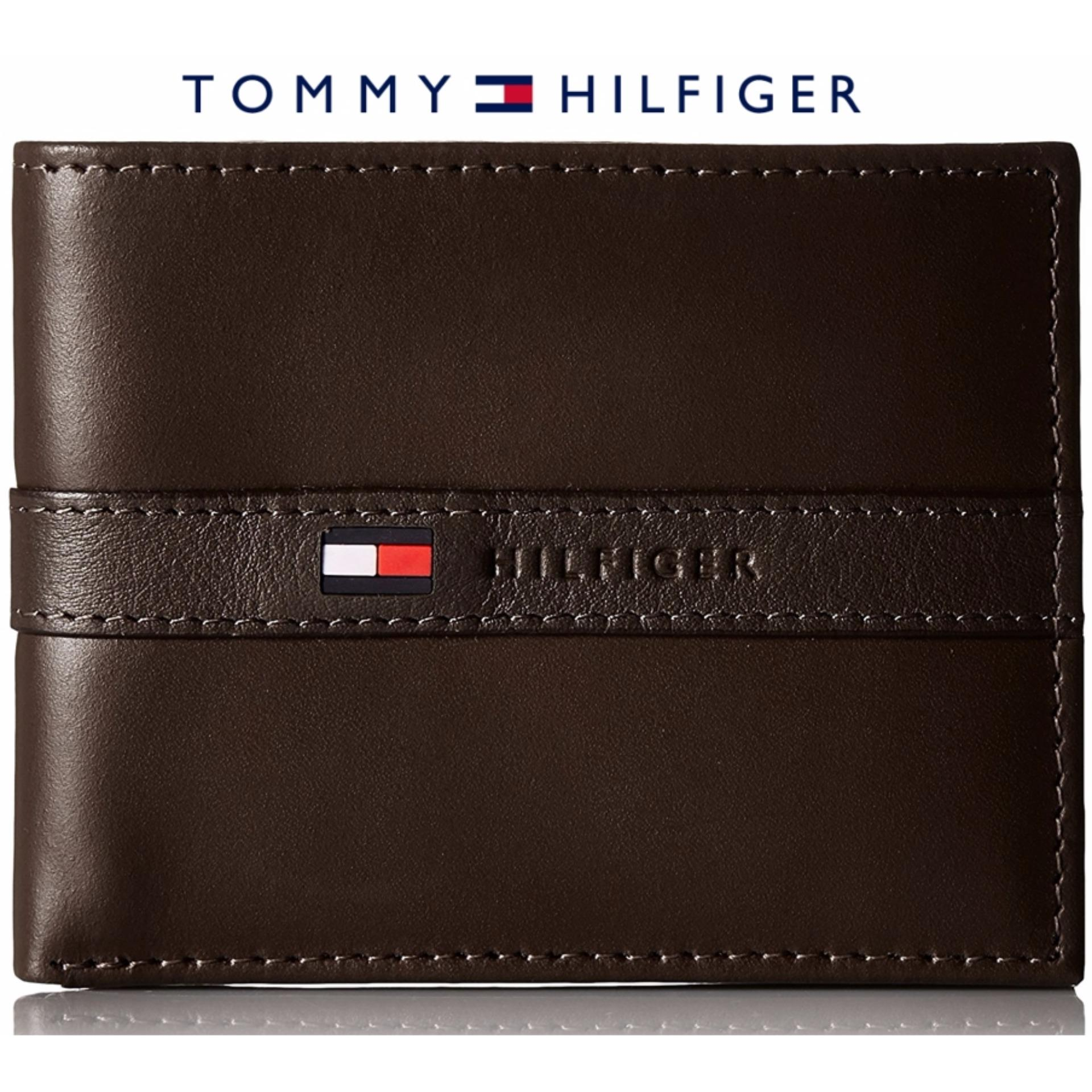 cheaper 7177a 988fa Tommy Hilfiger Men's Ranger Leather Passcase Wallet with Removable Card  Case gift box (brown) Singapore