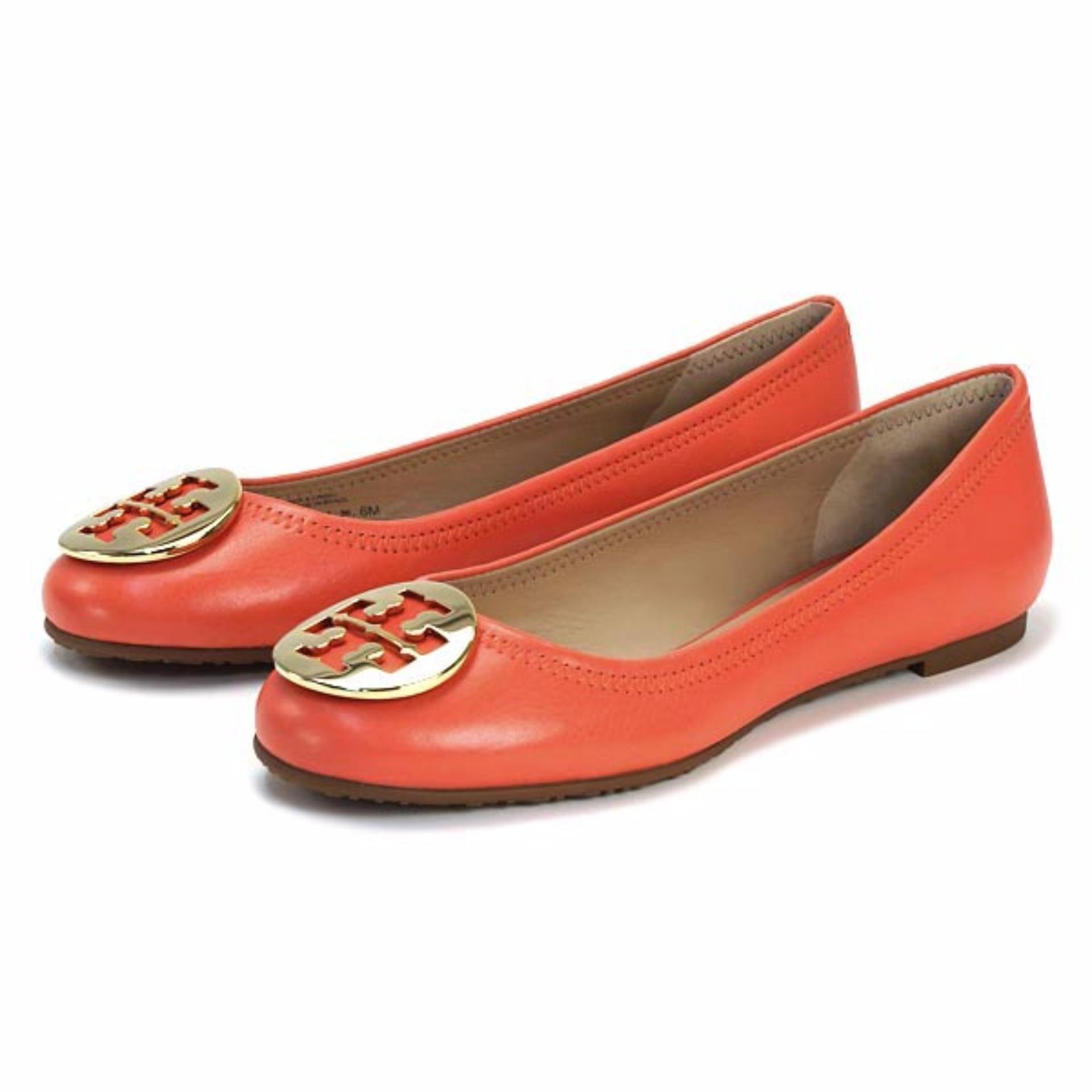 0697b484038b8b ... canada tory burch flats ballet shoes reva ballet flat coral gold coral  singapore f95a4 37586