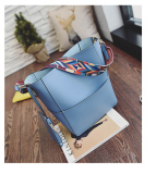 Trapeze Top Branded Shoulder Bag with Additional Solid Fancy Strap - Blue